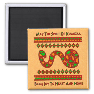 Kwanzaa Snake 2 Inch Square Magnet