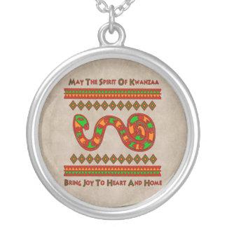 Kwanzaa Snake Round Pendant Necklace