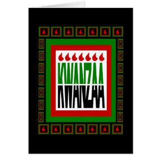 Kwanzaa Split With 7 Flames & Decorated Frame Card