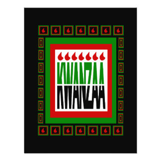 Kwanzaa Split With 7 Flames & Decorated Frame Personalized Flyer