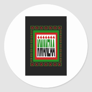 Kwanzaa Split With 7 Flames & Decorated Frame Classic Round Sticker