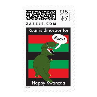 Kwanzaa Tyrannosaurus Rex Customizable Postage