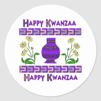 Kwanzaa Vase Classic Round Sticker