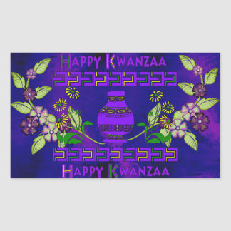 Kwanzaa Vase Rectangular Sticker
