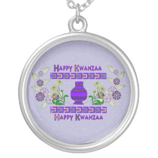 Kwanzaa Vase Round Pendant Necklace