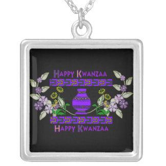 Kwanzaa Vase Square Pendant Necklace