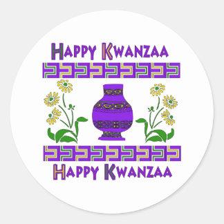 Kwanzaa Vase Round Sticker