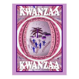 Kwanzaa - village under the palm trees postcard
