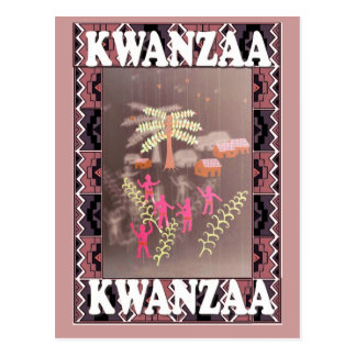 Kwanzaa - village with palms postcard