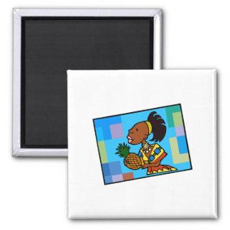 Kwanzaa Woman 2 Inch Square Magnet