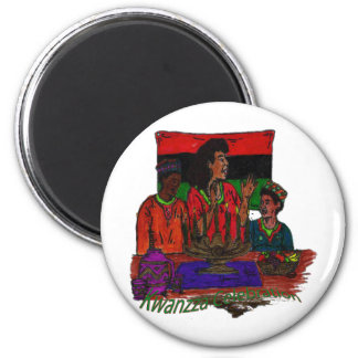 Kwanzza Celebration Coloring Art 2 Inch Round Magnet