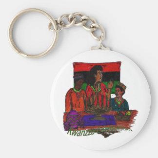 Kwanzza Celebration Coloring Art Basic Round Button Keychain