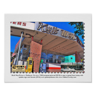 KWIK WAY Drive-in, Oakland, CA circa 1960 Poster