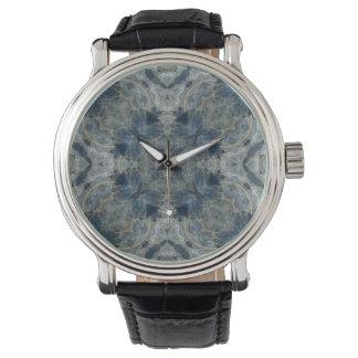Kyanite gemstone fractal design watch
