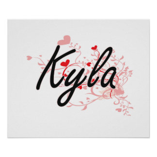 Kyla Artistic Name Design with Hearts Poster