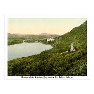 Kylemore lake & Abbey, Connemara,  Galway Ireland Postcard