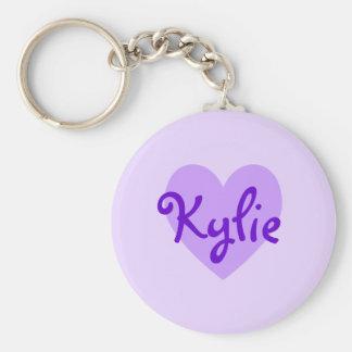 Kylie en púrpura llavero redondo tipo pin