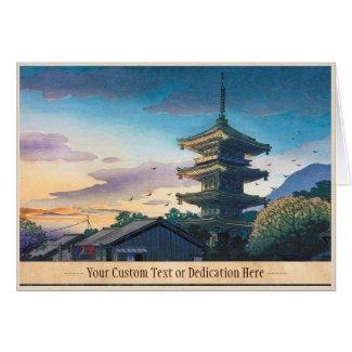 Kyoraku attractions Nomura Yasaka pagoda sunshine Greeting Cards