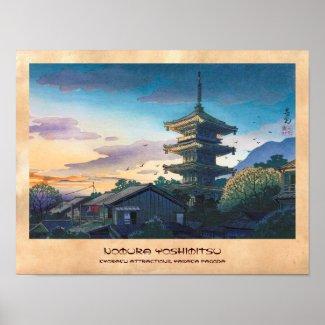 Kyoraku attractions Nomura Yasaka pagoda sunshine Print
