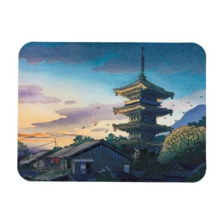 Kyoraku attractions Nomura Yasaka pagoda sunshine Rectangular Magnets