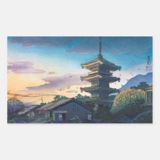 Kyoraku attractions Nomura Yasaka pagoda sunshine Rectangle Sticker
