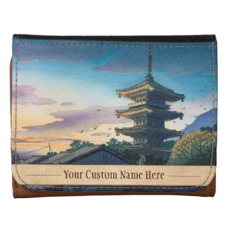 Kyoraku attractions Nomura Yasaka pagoda sunshine Leather Trifold Wallet