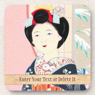 Kyoto Brocade, Four Leaves - Winter japanese lady Beverage Coaster