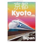 kyoto Japan bullet train vintage travel poster Card