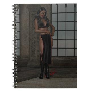 Kyra Kunti Beautiful African Vampire Woman Spiral Note Book
