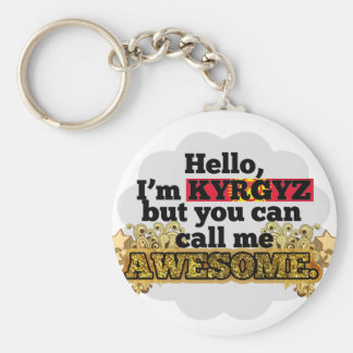 Kyrgyz, but call me Awesome Basic Round Button Keychain