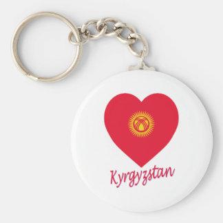 Kyrgyzstan Flag Heart Keychain