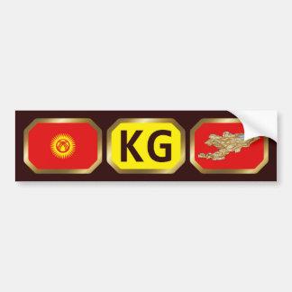 Kyrgyzstan Flag Map Code Bumper Sticker Car Bumper Sticker