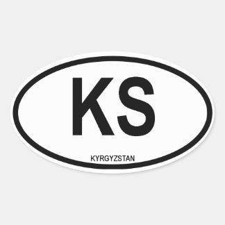 """Kyrgyzstan """"KS"""" Oval Sticker"""