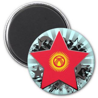 Kyrgyzstan Star 2 Inch Round Magnet