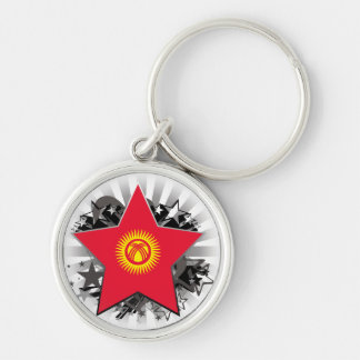 Kyrgyzstan Star Silver-Colored Round Keychain