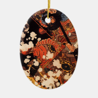 Kyusenpo Sacucho charging throught the snow Double-Sided Oval Ceramic Christmas Ornament