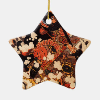 Kyusenpo Sacucho charging throught the snow Double-Sided Star Ceramic Christmas Ornament