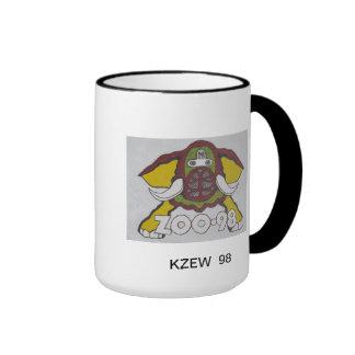 KZEW 98 Rock and Roll Radio Station Elephant Logo. Ringer Mug