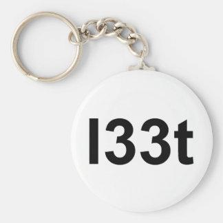 l33t basic round button keychain