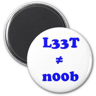 l33t leet n00b noob 2 inch round magnet