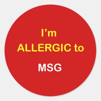 L6 - I'm Allergic - MSG. Classic Round Sticker