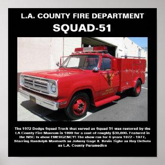 L.A. Impresión del departamento Squad-51 del fuego Póster