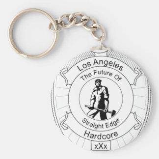 L.A. Straight Edge Hardcore Basic Round Button Keychain