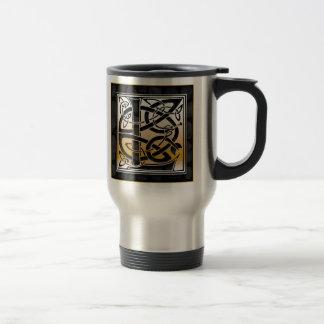 "L ""Celtic Black Stone"" Monogram Travel Mugs"