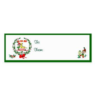 L - CHRISTMAS ELF MONOGRAM GIFT TAGS BUSINESS CARD