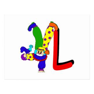 L Clown Postcard