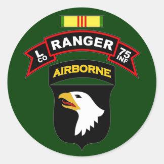 L Co, 75th Infantry Regiment - Rangers, Vietnam Classic Round Sticker