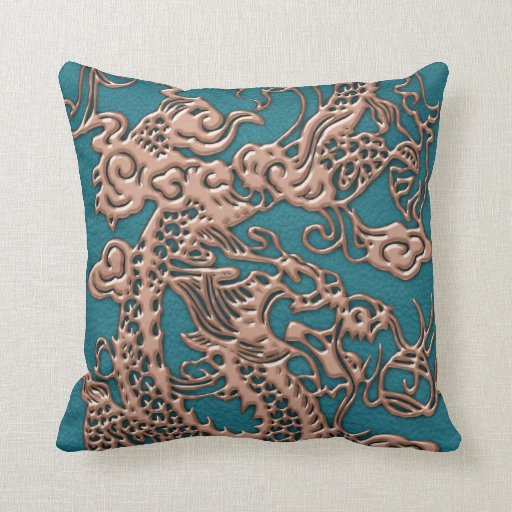 L-CopperDragon.png Throw Pillows