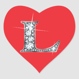 """L"" Diamond Bling on Red Heart Sticker"