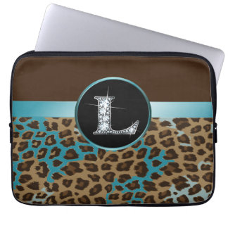 "L ""Diamond"" Brown Teal Leopard & Ribbon Laptop Computer Sleeves"